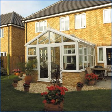 White gable glass roof. White Handles.